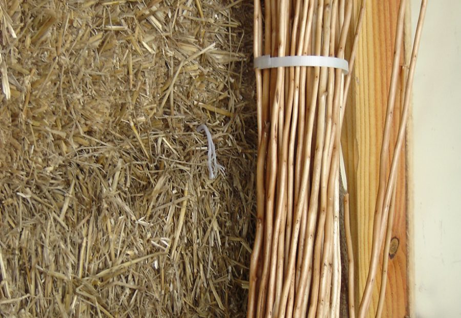 straw bales and reeds; straw bale house