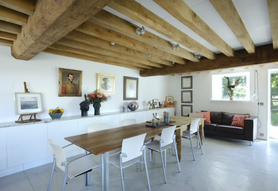 A sustainable listed barn conversion on the Somerset Levels by the creative O2i Design Ltd - dining room