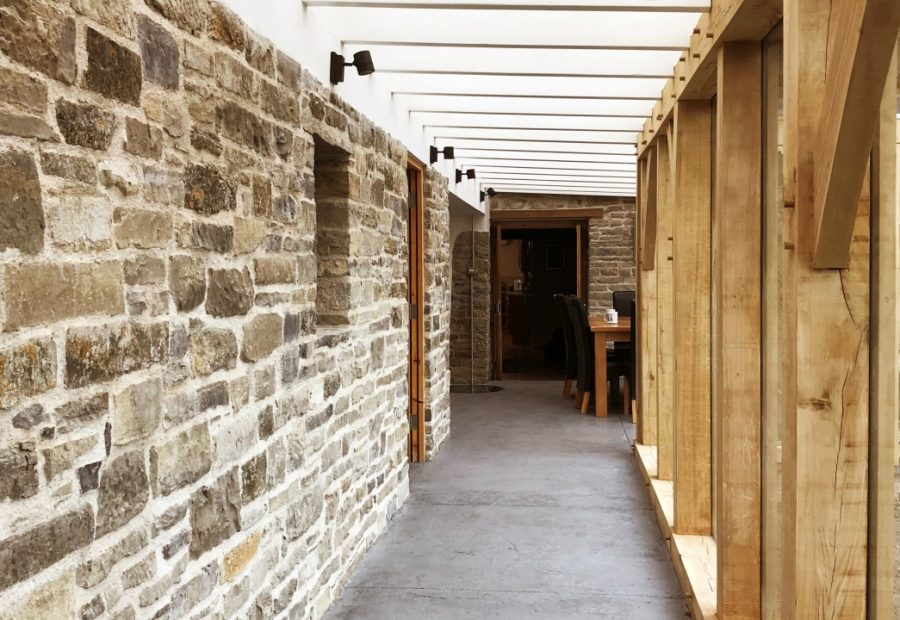 new single-storey extension to a Somerset long house, with patterned concrete
